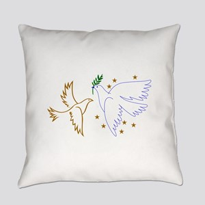 Two Doves with Stars Everyday Pillow
