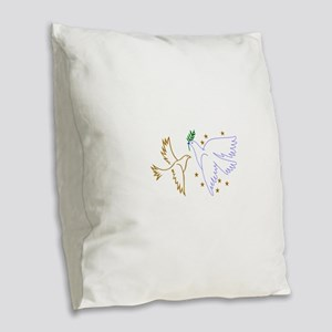 Two Doves with Stars Burlap Throw Pillow