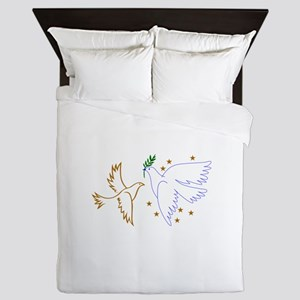 Two Doves with Stars Queen Duvet