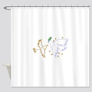 Two Doves with Stars Shower Curtain