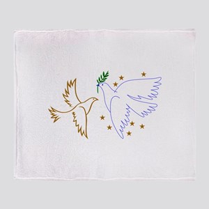 Two Doves with Stars Throw Blanket