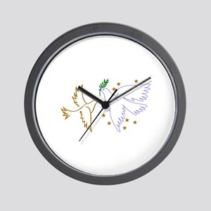 Two Doves with Stars Wall Clock