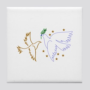 Two Doves with Stars Tile Coaster