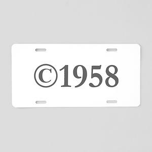 Copyright 1958-Gar gray Aluminum License Plate