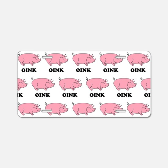 Oink Oink Aluminum License Plate