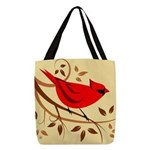 Red Cardinal Design Polyester Tote Bag