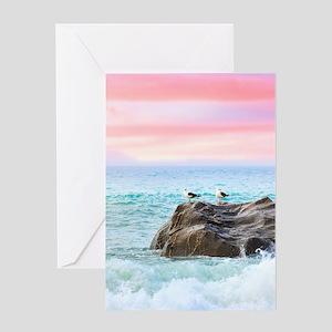 Seagulls at Sunrise Greeting Cards