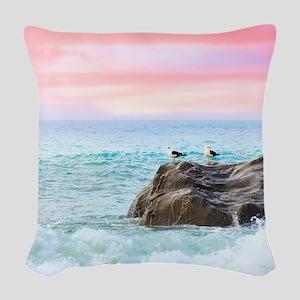 Seagulls at Sunrise Woven Throw Pillow