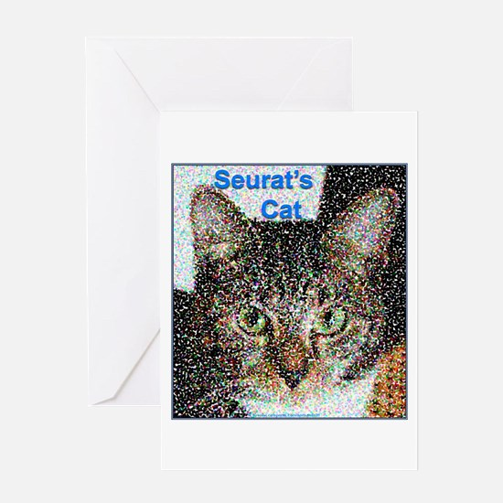 Seurat's Cat Greeting Card