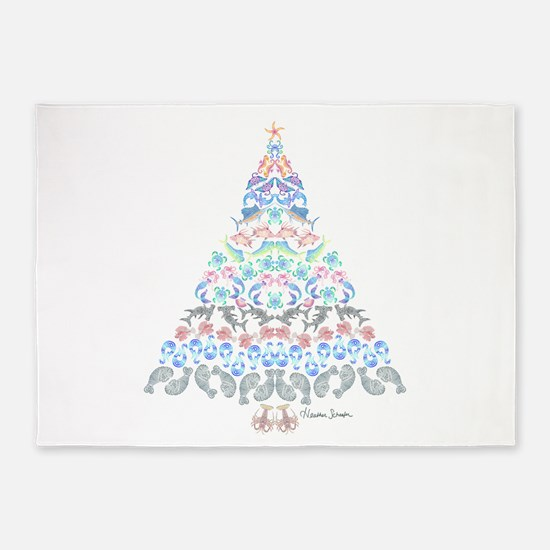 Marine Christmas Tree 5 X7 Area Rug