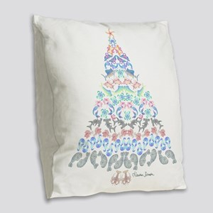 Marine Christmas Tree Burlap Throw Pillow