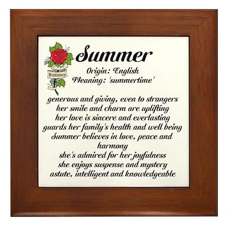 Summer Name Meaning Design Framed Tile by inspirationstation