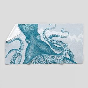 exquisite vintage teal green octopus Beach Towel
