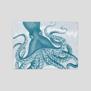 exquisite vintage teal green octopus 5'x7'Area Rug
