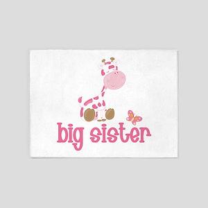 Pink Giraffe Big Sister 5'x7'Area Rug