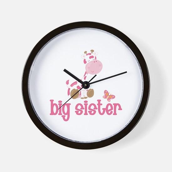 Pink Giraffe Big Sister Wall Clock
