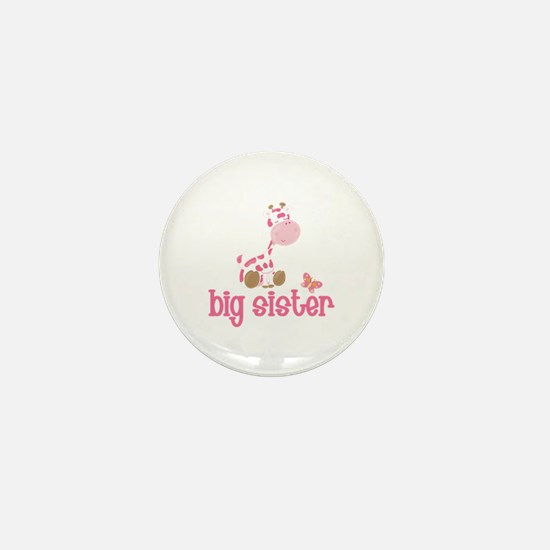Pink Giraffe Big Sister Mini Button