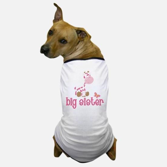 Pink Giraffe Big Sister Dog T-Shirt