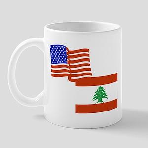 American and Lebanese Flag Mug