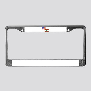 American and Lebanese Flag License Plate Frame