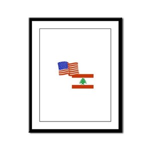 American and Lebanese Flag Framed Panel Print
