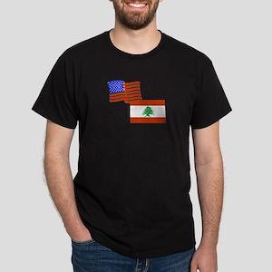 American and Lebanese Flag Dark T-Shirt