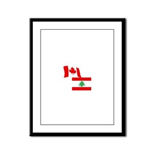 Canadian and Lebanese Flag Framed Panel Print