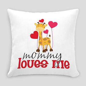 Mommy Loves Me Giraffe Hearts Everyday Pillow