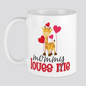 Mommy Loves Me Giraffe Hearts Mug