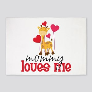 Mommy Loves Me Giraffe Hearts 5'x7'Area Rug