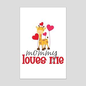 Mommy Loves Me Giraffe Hearts Mini Poster Print