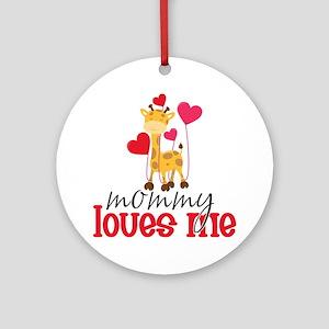 Mommy Loves Me Giraffe Hearts Ornament (Round)