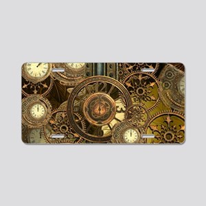 Steampunk, awessome clocks with gears Aluminum Lic