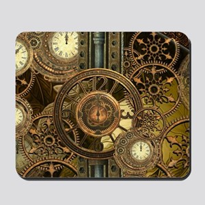 Steampunk, awessome clocks with gears Mousepad