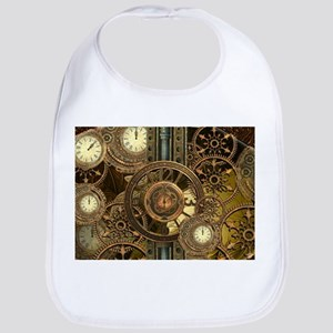 Steampunk, awessome clocks with gears Baby Bib