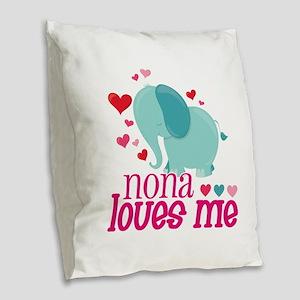 Nona Loves Me - Elephant Burlap Throw Pillow