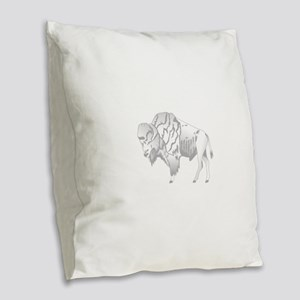 White Buffalo Burlap Throw Pillow