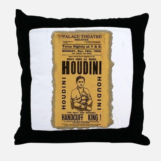 Vintage Houdini Poster Throw Pillow