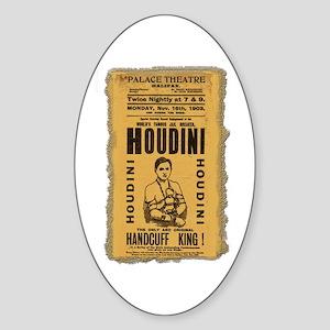 Vintage Houdini Poster Oval Sticker
