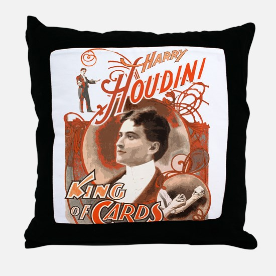 Retro Harry Houdini Poster Throw Pillow