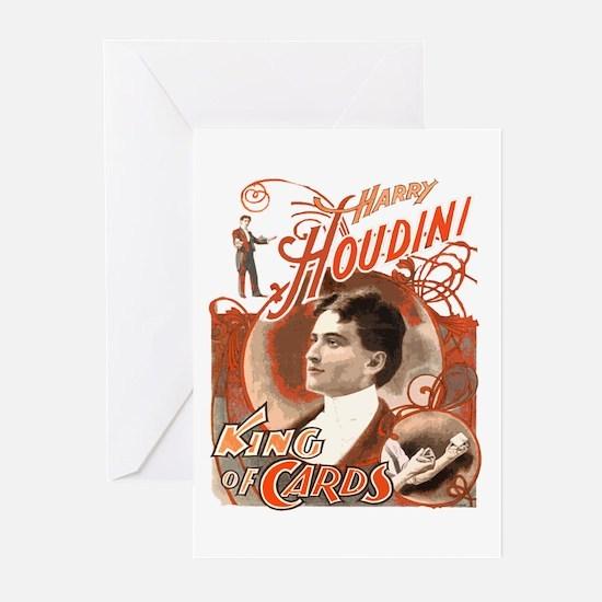 Retro Harry Houdini Poster Greeting Cards (Pk of 1
