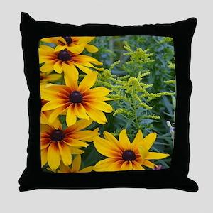 Yellow rudbeckia flowers in garden Throw Pillow