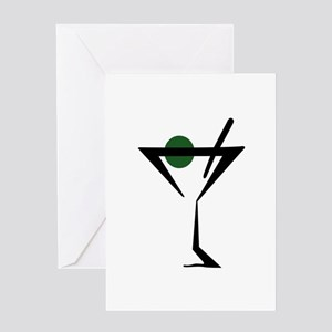 Abstract Martini Glass Greeting Cards