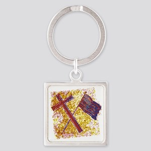 God and Country Square Keychain