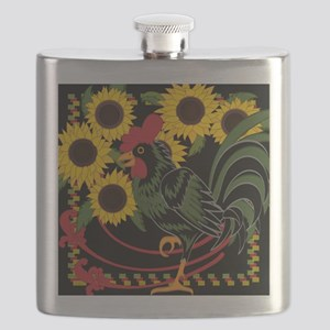 ROOSTER IN THE SUNFLOWERS Flask