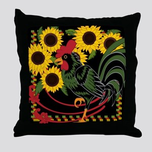 ROOSTER IN THE SUNFLOWERS Throw Pillow