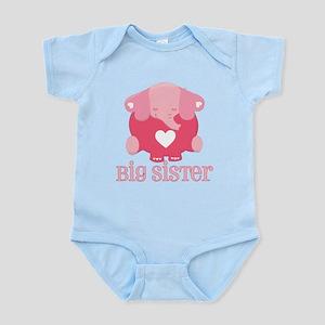 Cute Pink Big Sister Elephant Infant Bodysuit