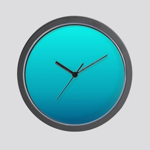 turquoise blue ombre Wall Clock