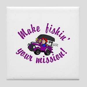 Fishin Mission Tile Coaster