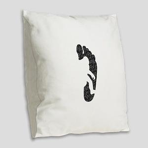 Bigfoot Footprint (Distressed) Burlap Throw Pillow